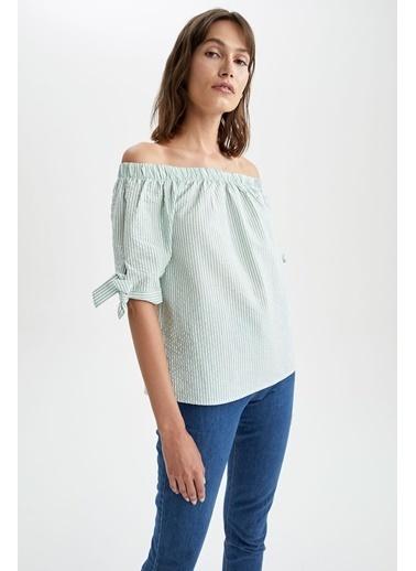 DeFacto Çizgili Carmen Yaka Bağlama Detaylı Yarım Kollu Bluz Yeşil